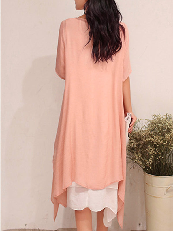 Half Sleeve Crew Neck Casual Solid Dress
