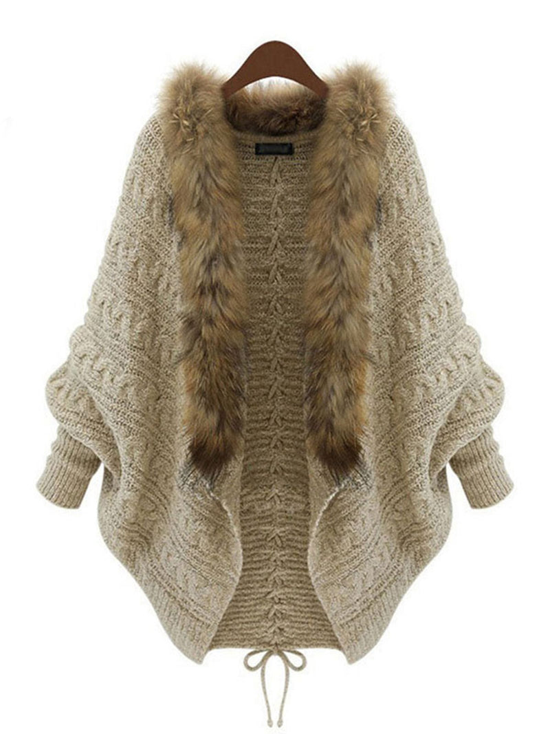 Batwing Casual Lace Up Knitted Paneled Faux fur Cardigan