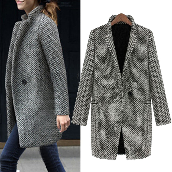 Gray Casual Pockets Houndstooth Plus Size Blazer