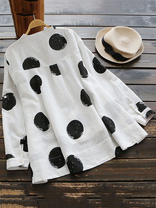 Plus Size Buttoned Long Sleeve Polka Dots Printed Blouse