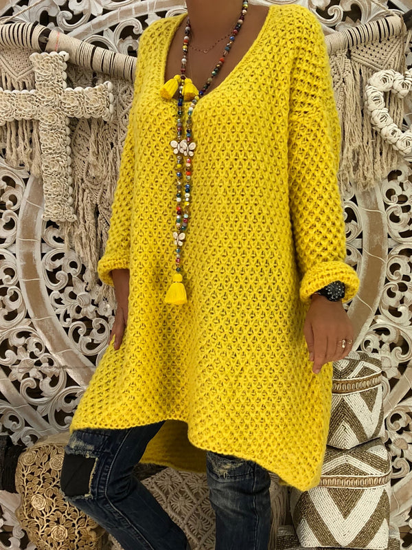 Yellow Solid Knitted Plus Size Long Sleeve Sweater