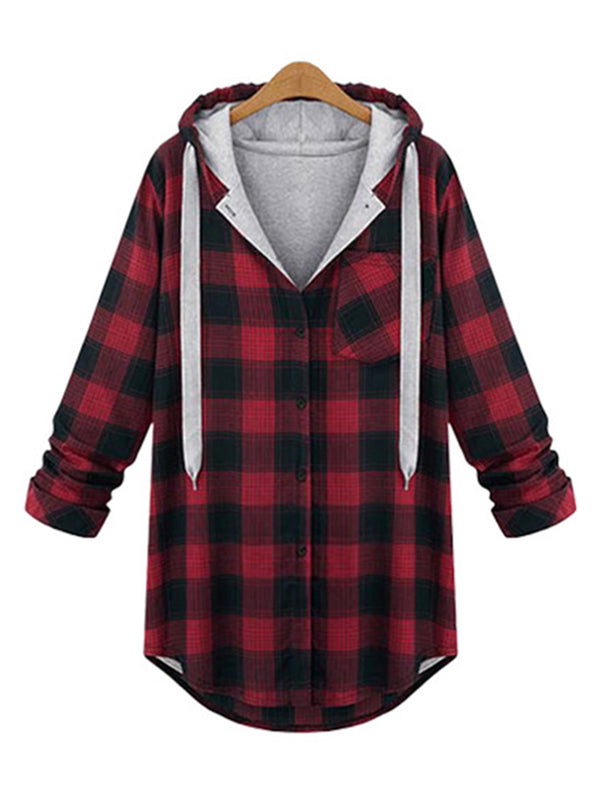 Detachable Buttoned Checkered Long Sleeve Hoodie Coat