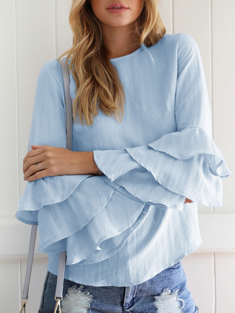 Plus Size Ruffled Long Sleeve Casual Crew Neck Blouse