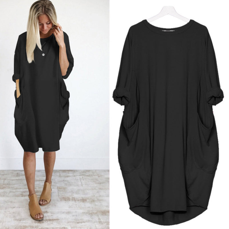 Crew Neck Solid Batwing Cocoon Casual Pockets Folds Daily Dress