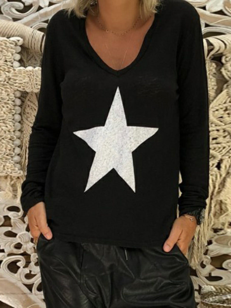 V Neck Casual Long Sleeve Star Printed Plus Size T-Shirt