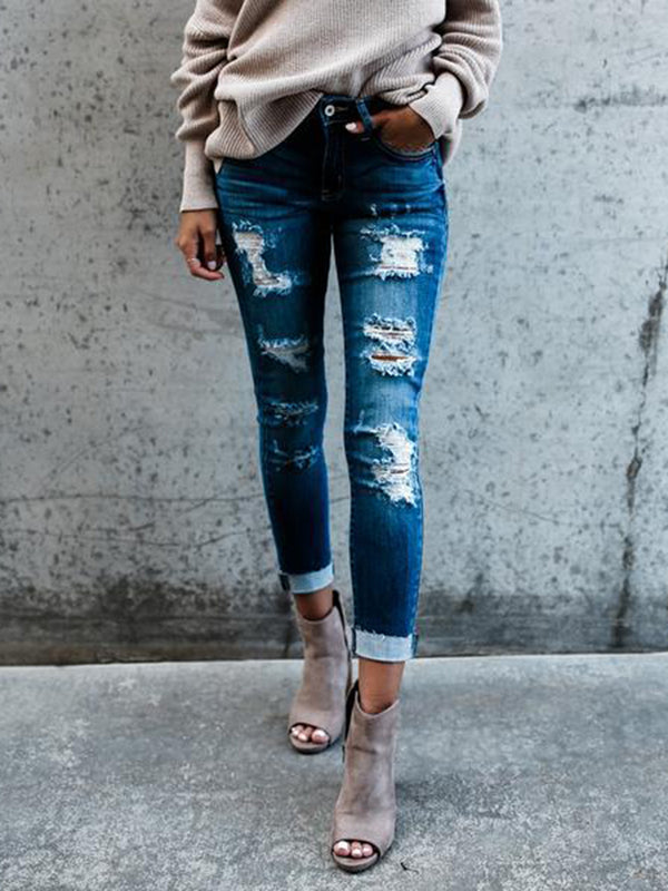 Blue Sheath Casual  Solid Ripped Denim Pants