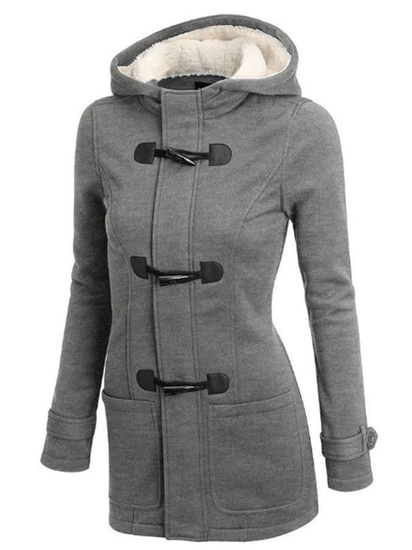 Hoodie Buttoned Long Sleeve Casual Plus Size Coat