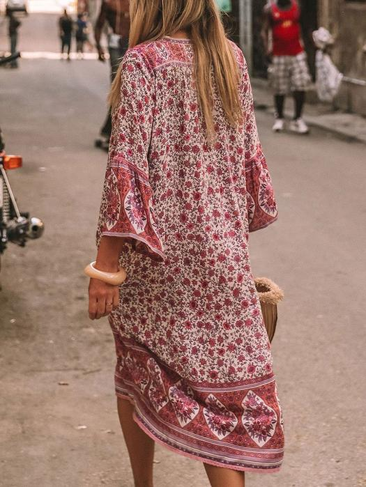 V Neck Women Summer Bohemian Dresses Shift Floral-Print Floral Sexy Printed Dress