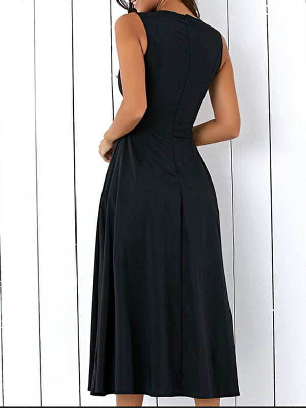 Black Cotton Elegant Dress