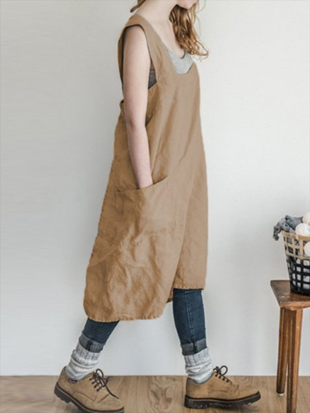 Casual Sleeveless Spaghetti Neck Solid Dress