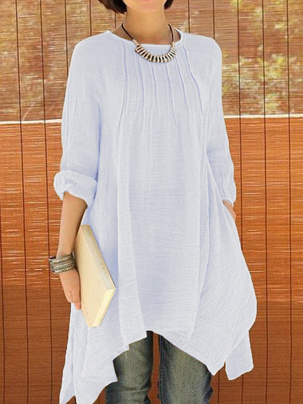 Solid 3/4 Sleeve Crew Neck Asymmetrical Plus Size Blouse