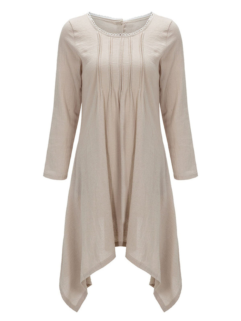 Casual Long Sleeve Linen Asymmetrical Buttoned Plus Size Dress