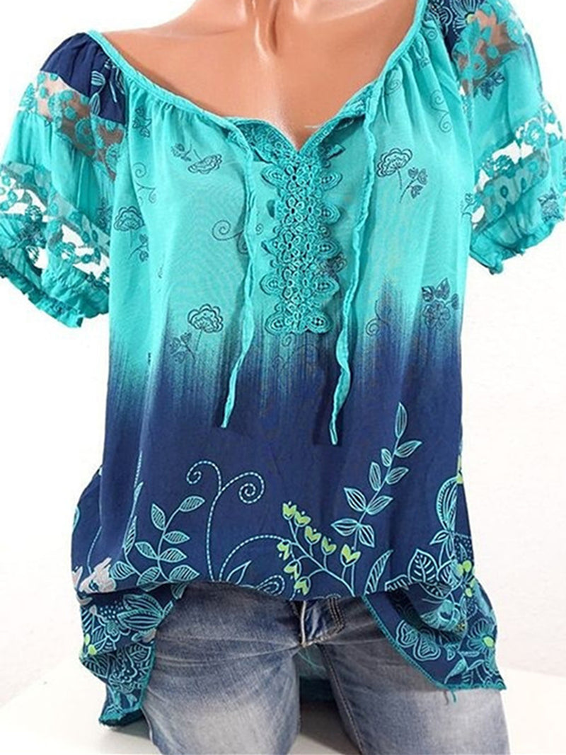 Floral Printed Crew Neck Crochet-trimmed Short Sleeve Blouse