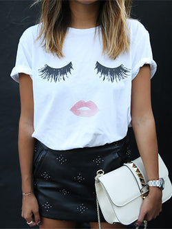 Plus Size White Short Sleeve Shift Lip Printed T-Shirt