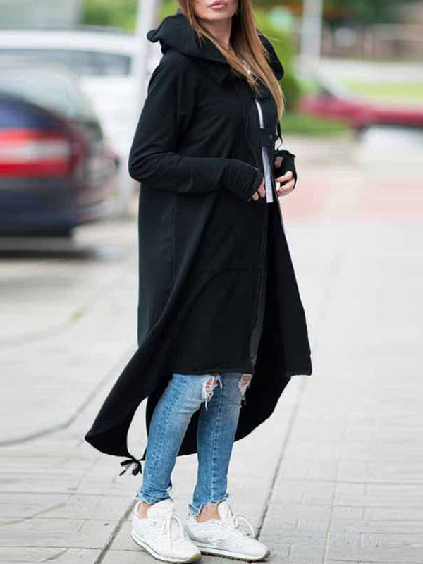 Casual Zipper High Low Buttoned Plus Size Hoodie