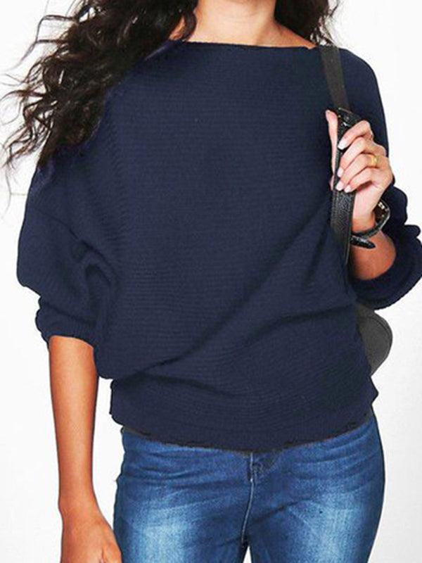 Long Sleeve Plus Size Casual Solid Boat Neck Sweater