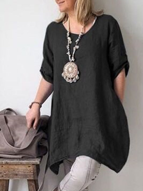 Solid Short Sleeve Casual Plus Size Tunic