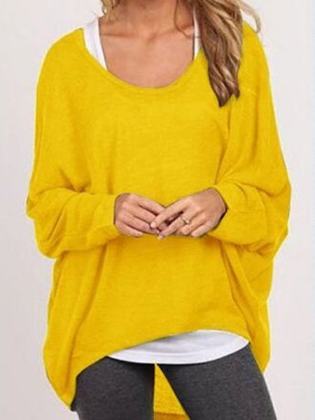 Plus Size Long Sleeve Crew Neck Knitted Casual T-Shirt