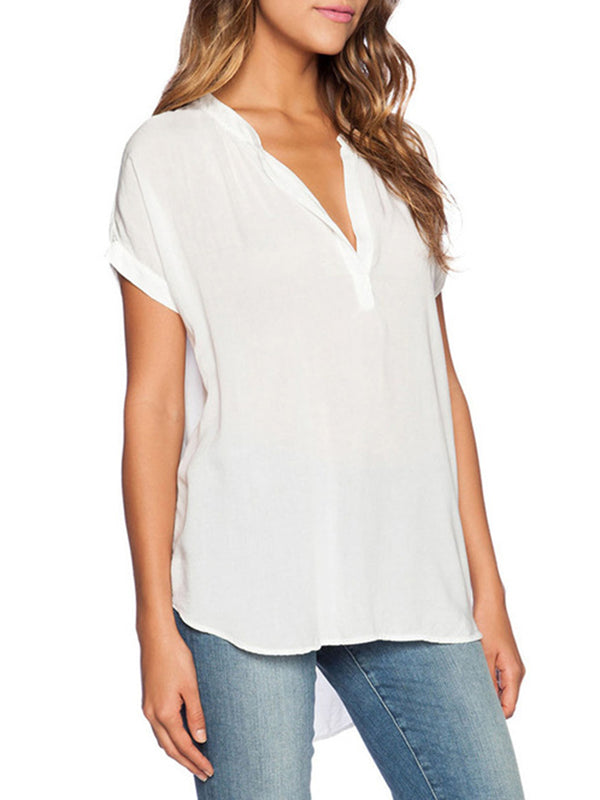 Plus Size Short Sleeve Chiffon Casual V Neck Solid Blouse