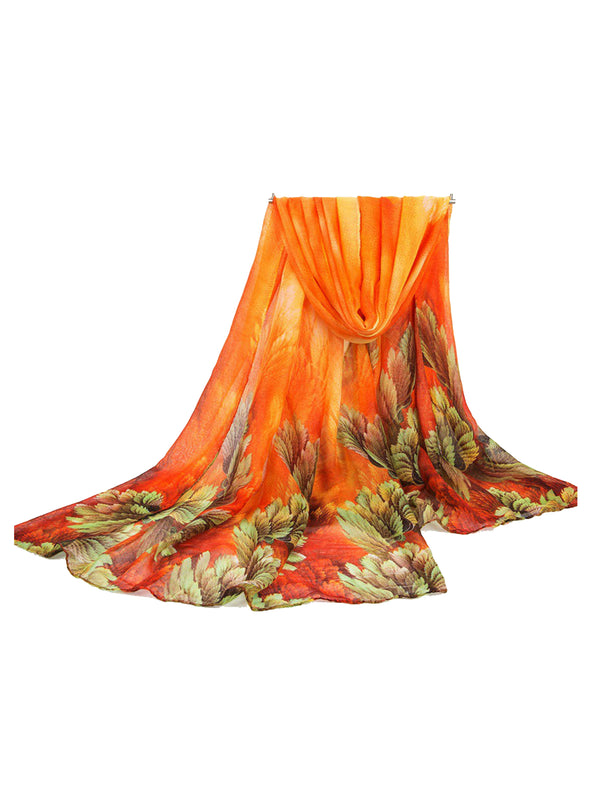 180CM Women Voile Coral Flower Printing Scarves Casual Oversize Warm Soft Shawls