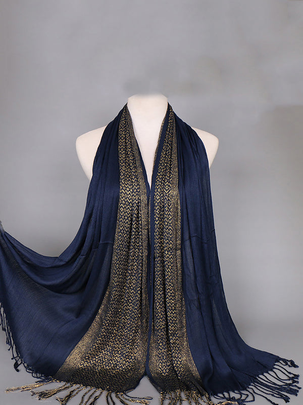 Womens Gold thread fringed Cotton Shawl Pohemina Soft Scarves