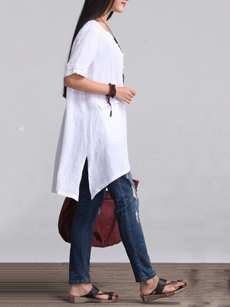 Solid Cotton 3/4 Sleeve Blouse