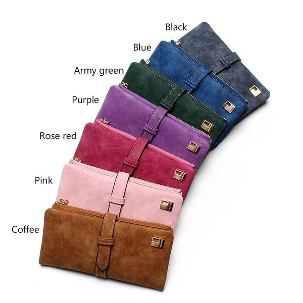 New Fashion 7 Colors Leather Zipper Wallet Women Wallets Drawstring Nubuck Women's Long Design Purse Two Fold More Color Clutch