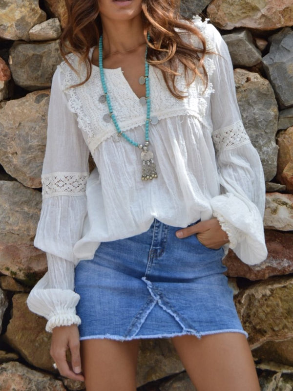 Cotton-Blend Boho V Neck Long Sleeve Tops