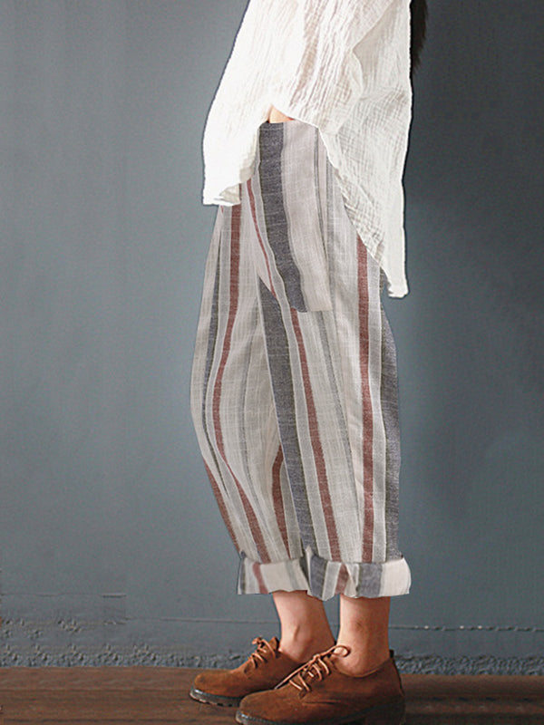Plus Size Black Casual Striped Linen Pants