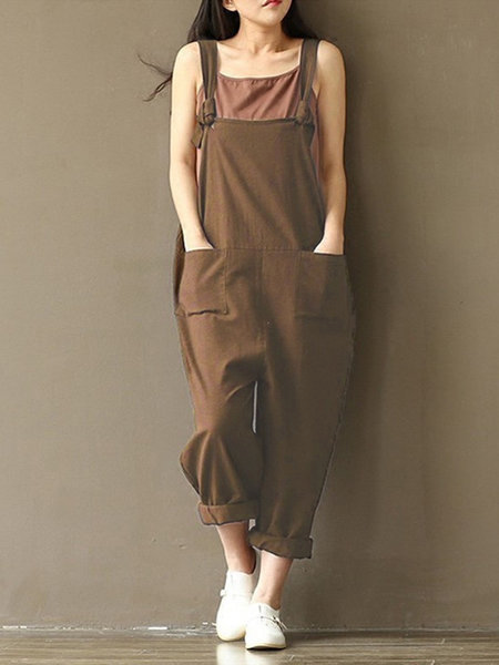 Plus Size Pockets Casual Linen Cocoon Solid Jumpsuits