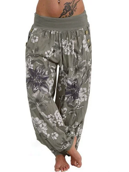Casual Pockets Floral Printed Pants