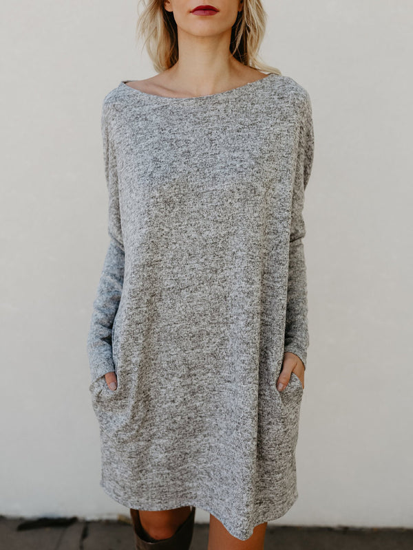 Bateau/boat Neck Simple & Basic Dress