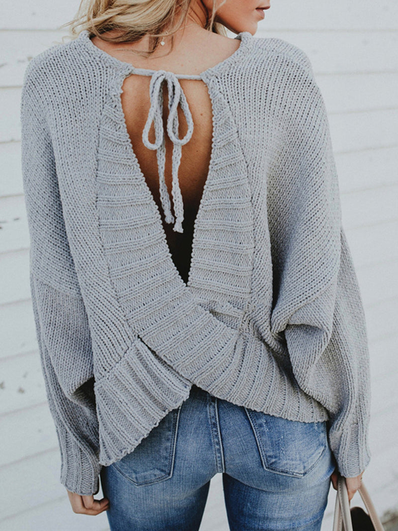 Crew Neck Backless Casual Lace up Sweater