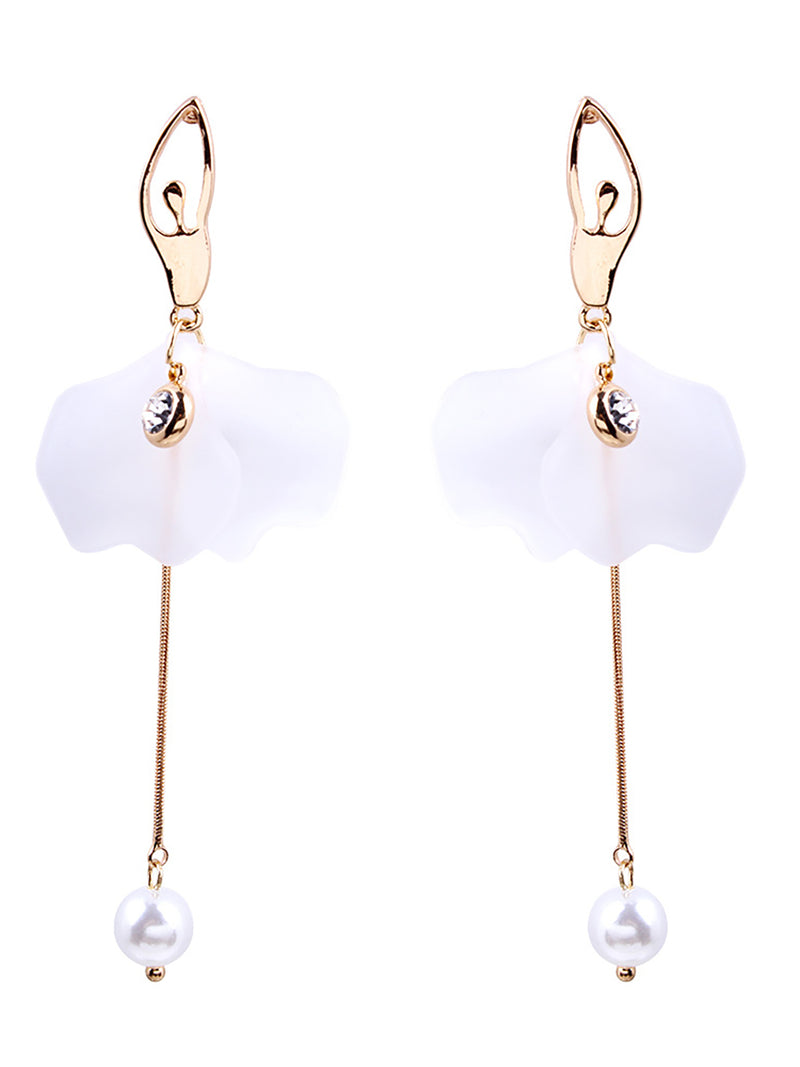 Womens Flowers Alloy Drop Earrings