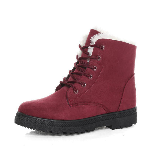 Lace Up Red Women's Slip-On Suede Snow Boots