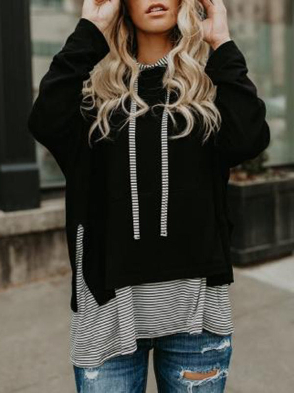 Black Striped Paneled Long Sleeve Casual Hoodie
