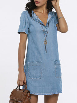 Shift V neck Basic Short Sleeve Denim Washed Pockets Solid Dress