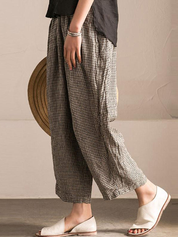 Plus Size Black Pockets Shift Checkered Casual Pants