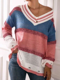 Multicolor V Neck Knitted Long Sleeve Sweater