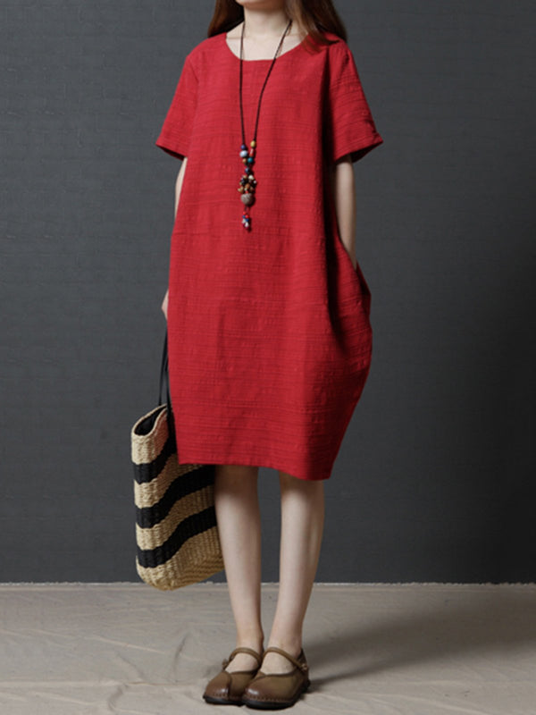 Plus Size Red Cocoon Short Sleeve Casual Linen Solid Dress