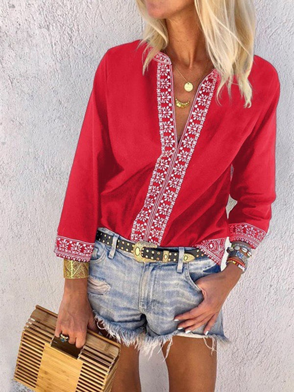 Printed Floral V neck Casual Blouse