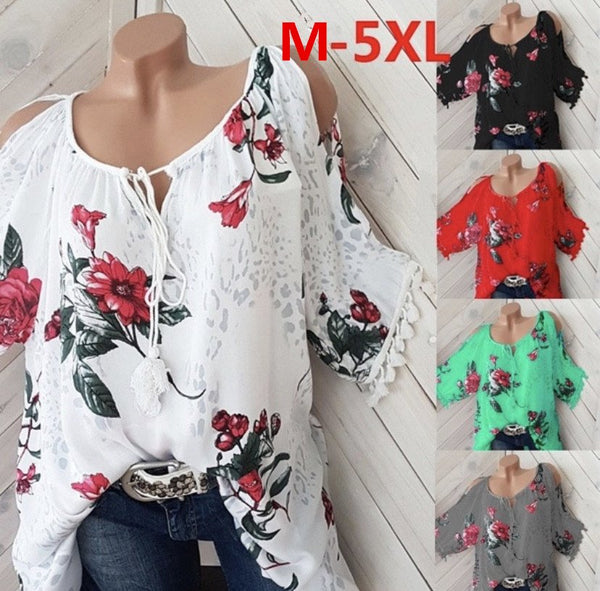 Plus Size Casual Crew Neck Printed Blouse