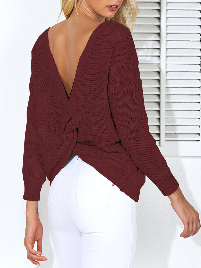Paneled Casual Long Sleeve Sweater