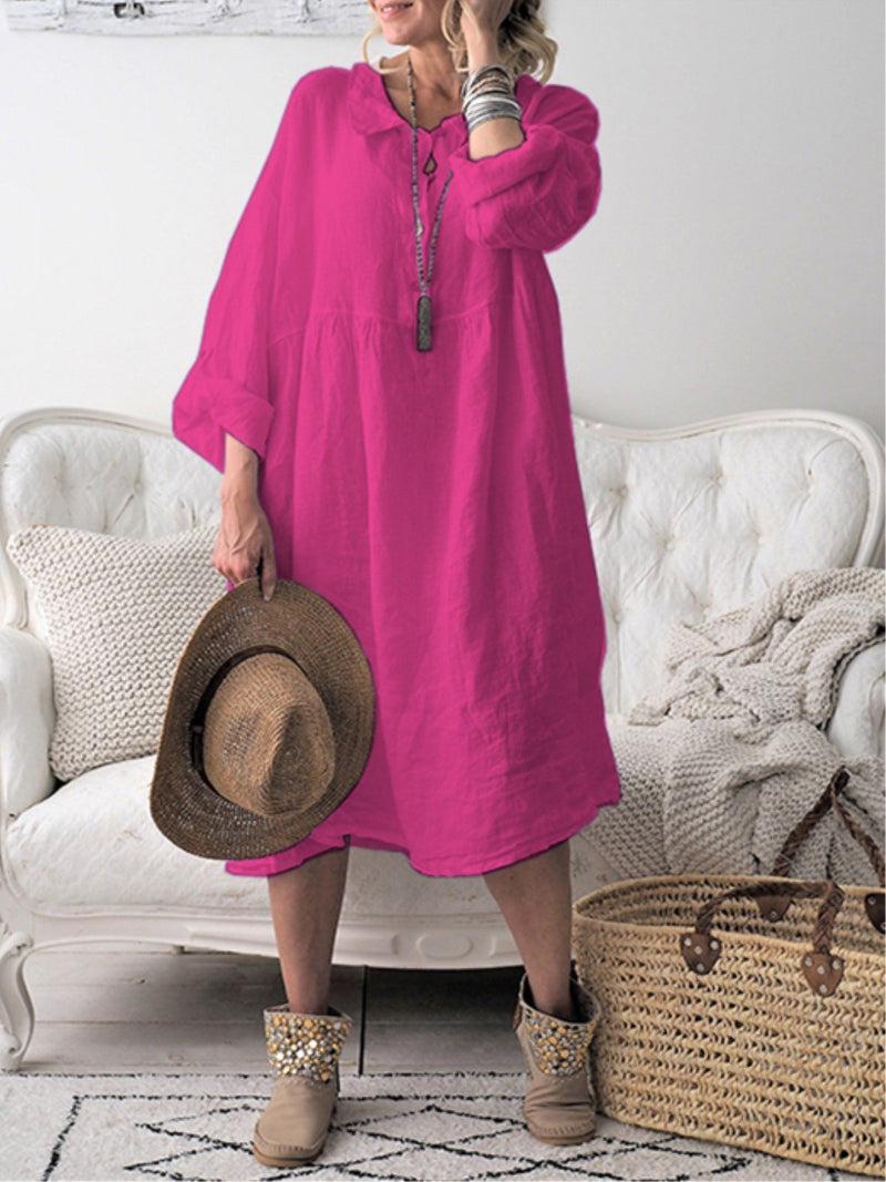 Casual Plain Buttoned Peter Pan Collar Long Sleeve Plus Size Dress