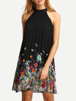 Halter Casual Printed Sleeveless Floral Chiffon Dress