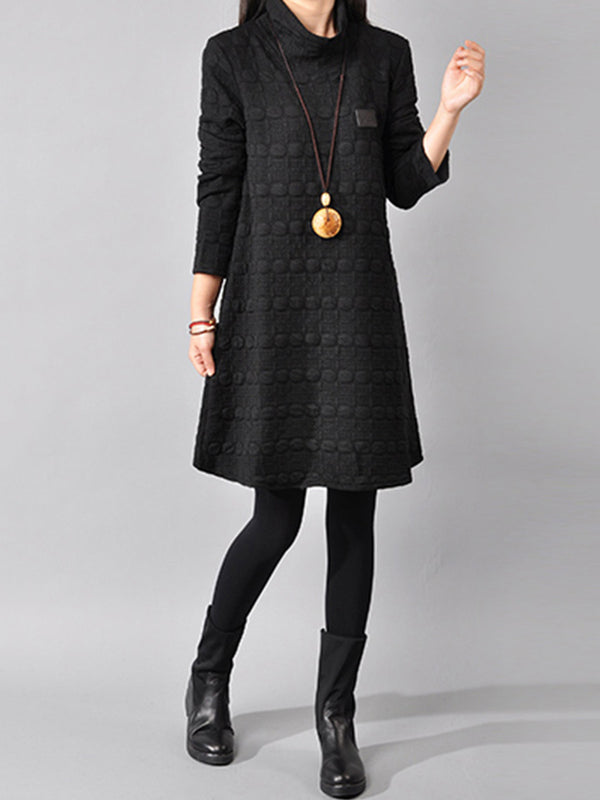 Casual Shift Long Sleeve Turtle Neck Plus Size Dress