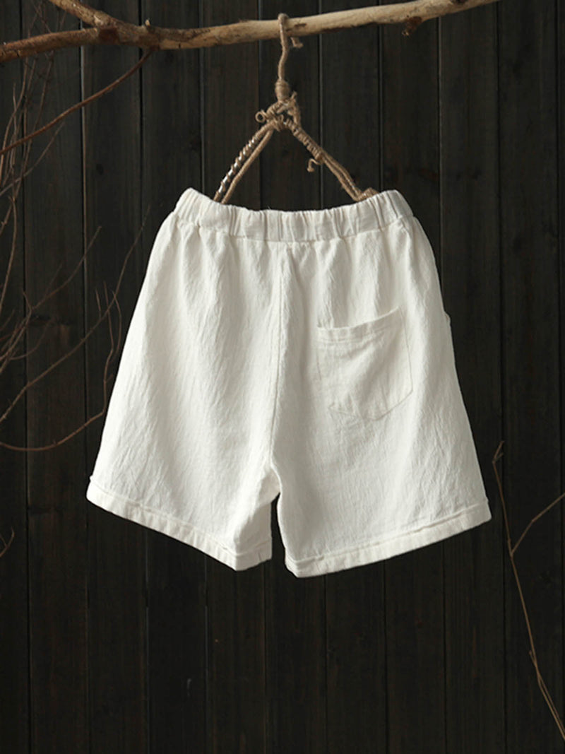 6 Colors Pockets Linen Casual Solid Drawcord Plus Size Shorts