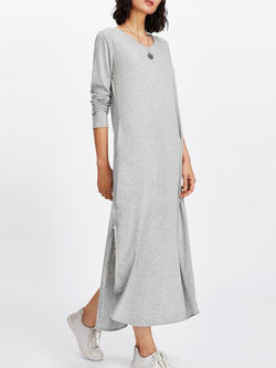 Long Sleeve Long Sleeve Solid Casual Slit Maxi Dress