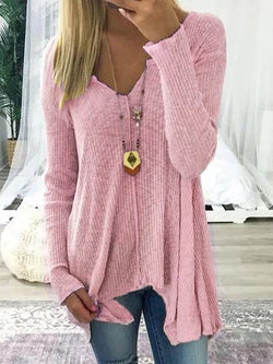 Long Sleeve Solid Knitted V Neck Plus Size Sweater