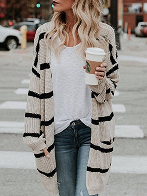 Long Sleeve Shift Knitted Striped Cardigan